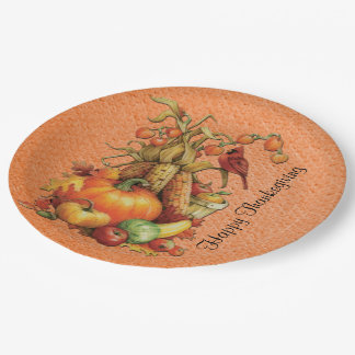 Autumn Harvest Happy Thanksgiving Orange Plates