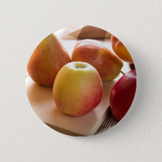 Autumn harvest of apples and pears 6 cm round badge