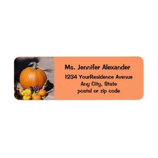 Autumn Harvest Pumpkin Return Address Label