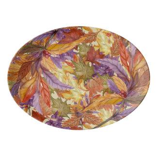 Autumn Harvest Rustic Tree Leaves Thanksgiving Porcelain Serving Platter