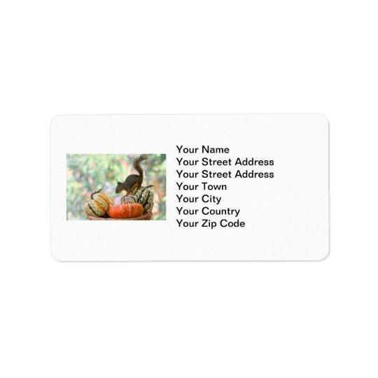 Autumn Harvest Squirrel Address Label