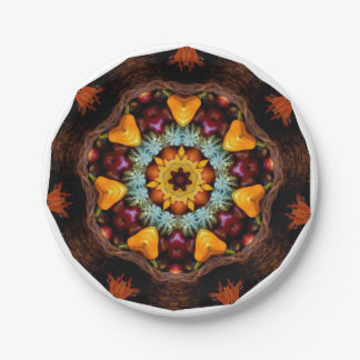 AUTUMN HARVEST THANKSGIVING CORNUCOPIA MANDALA PAPER PLATE