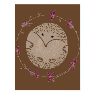 Autumn hedgehog postcard
