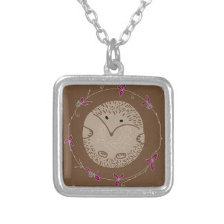 Autumn hedgehog silver plated necklace