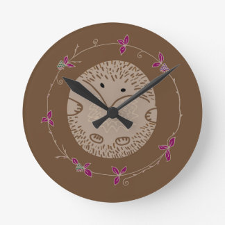 Autumn hedgehog wall clocks