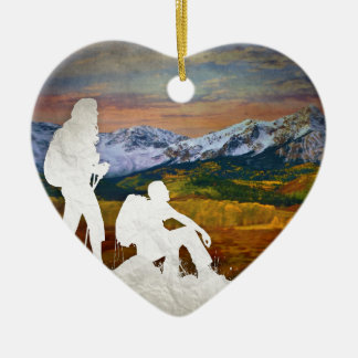 Autumn hike ceramic heart decoration