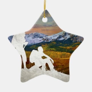 Autumn hike ceramic star decoration