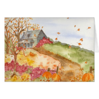 Autumn Home Country Landscape Fall Leaves Pumpkins Card
