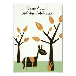 Autumn Horse Birthday Invitation