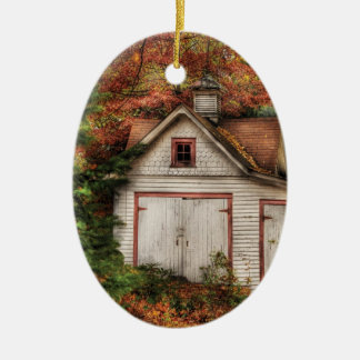 Autumn - House - Our old shed Ceramic Oval Decoration