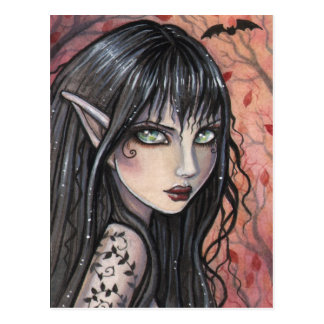 Autumn Imp Fairy Postcard Gothic