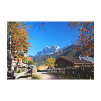 Autumn in a village in the Dolomites in Italy Canvas Print