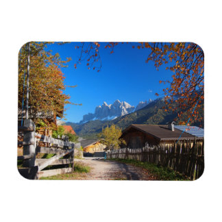 Autumn in a village in the Dolomites in Italy Magnet