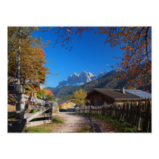 Autumn in a village in the Dolomites in Italy Poster