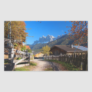 Autumn in a village in the Dolomites in Italy Rectangular Sticker