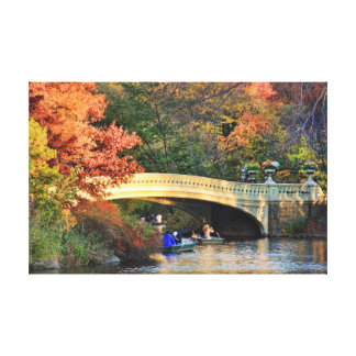 Autumn in Central Park: Boaters by Bow Bridge  #01 Gallery Wrapped Canvas