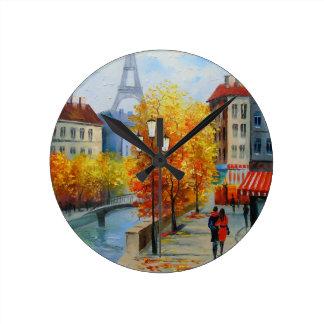 Autumn in Paris Round Clock
