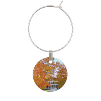 Autumn in the Suburbs Wine Glass Charm