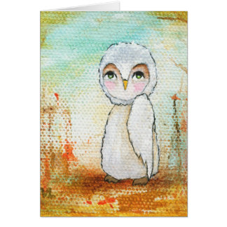 Autumn Joy Whimsical Woodland Owl Art Painting Card
