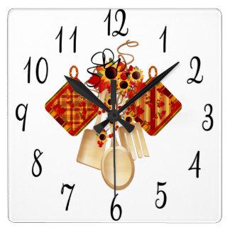 Autumn Kitchen Utensils Wall Clocks