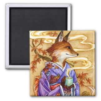 Autumn Kitsune Fox with Tea by Meredith Dillman Magnet
