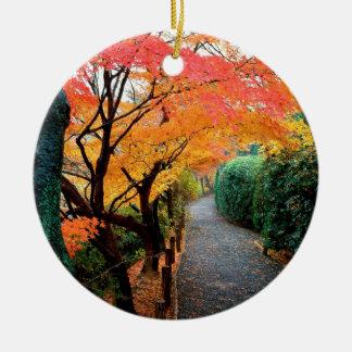 Autumn Kyoto Japan Round Ceramic Decoration