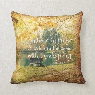 Autumn Lake Bench with Prayer Bible Verse Cushion