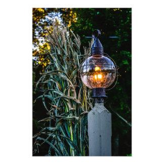 Autumn Lampost Aglow Photo