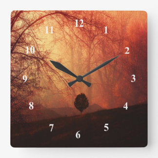 Autumn Landscape Art, Tree on Hill Orange Brown Wall Clocks