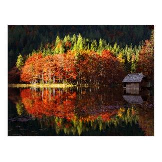 Autumn landscape on a lake postcard