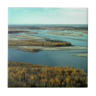 AUTUMN LANDSCAPE ON THE RIVER SURROUNDED BY TREES SMALL SQUARE TILE