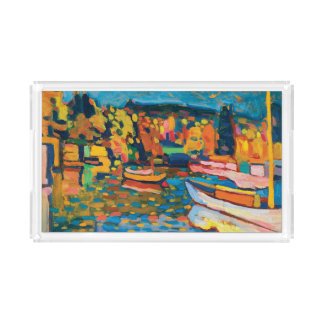 Autumn Landscape with Boats by Wassily Kandinsky Acrylic Tray