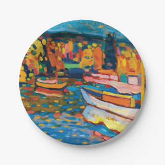 Autumn Landscape with Boats by Wassily Kandinsky Paper Plate