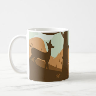 Autumn Landscape with Deer Basic White Mug
