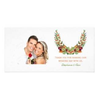 Autumn Laurel Fall Wedding Photo Greeting Card