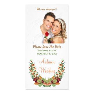 Autumn Laurel Fall Wedding Save The Date Customised Photo Card