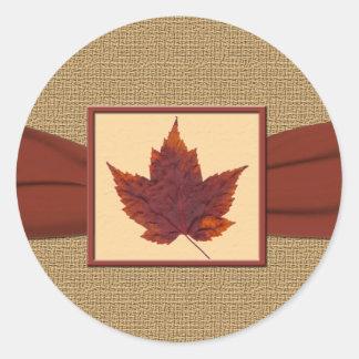 """Autumn Leaf 1.5"""" Diameter Round Sticker"""