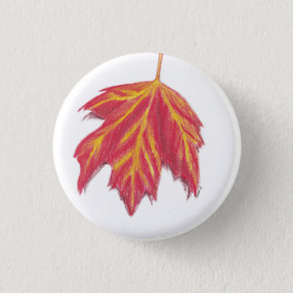 Autumn leaf 3 cm round badge