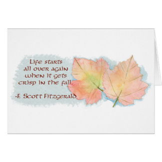Autumn Leaf and Fitzgerald Quote Blank Card