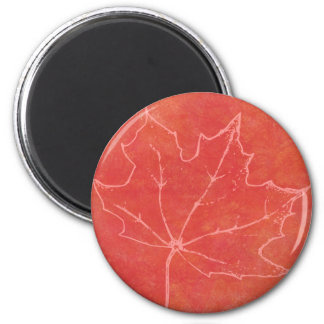 Autumn Leaf Art 6 Cm Round Magnet