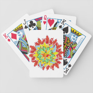 autumn leaf bicycle playing cards