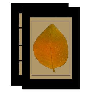 Autumn Leaf Black Gold Motif accent Card