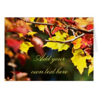 Autumn leaf card customize your text