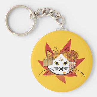 Autumn-leaf cat keychain