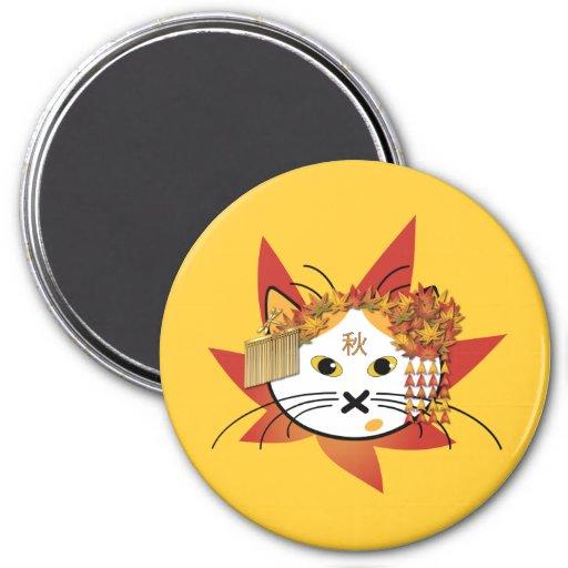 Autumn-leaf cat magnet