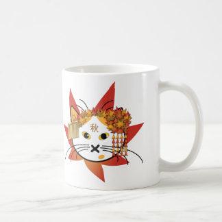 Autumn-leaf cat mug