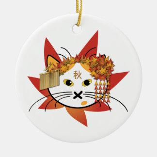 Autumn-leaf cat ornament