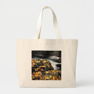 Autumn Leaf Covered Rock Elk River Oregon Tote Bag
