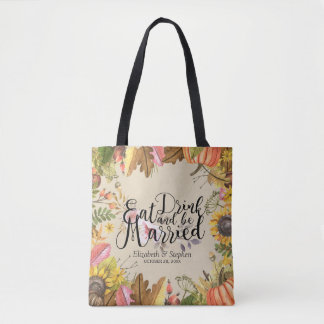 Autumn Leaf Eat Drink & be Married Wedding Welcome Tote Bag