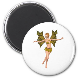 Autumn Leaf Fairy - dancing 6 Cm Round Magnet